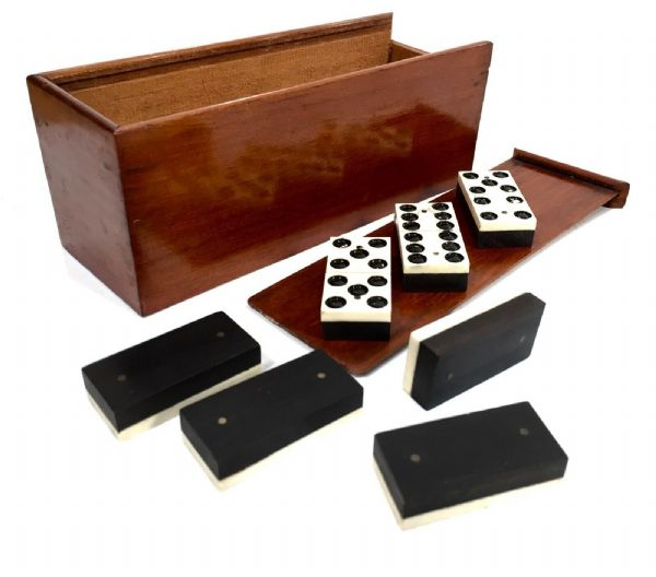 Antique Set of Bone & Ebony Dominos in Wooden Travel / Pocket Box / Complete